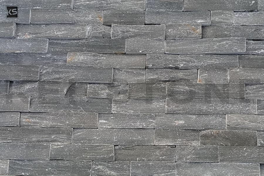 Mur de plaquettes de parement en pierres naturelles grises - Pose de plaquette de parement en pierre naturelle ...