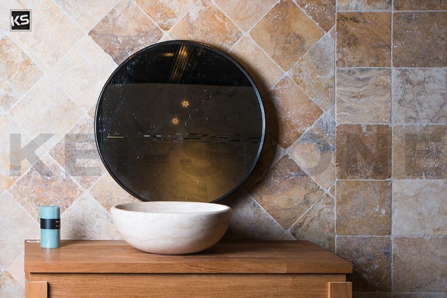 pierre de travertin des andes patin e pour dallage et sol. Black Bedroom Furniture Sets. Home Design Ideas
