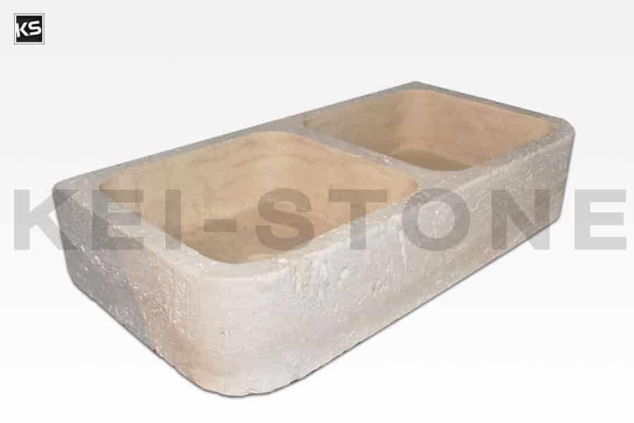 Evier travertin en pierre naturelle claire pour salle de bain - Evier en pierre naturelle ...