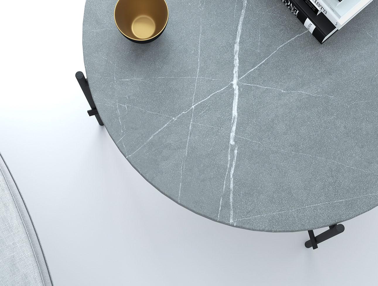 Carrelage effet pierre naturelle gris, finition spécifique texturée, reproduction des veines de la pierre