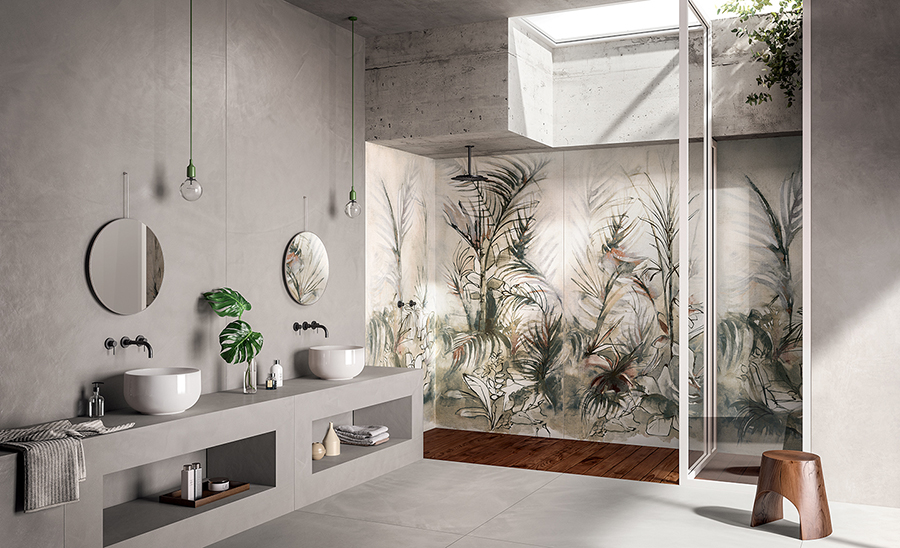 Carrelage intérieur pour les murs effet wallpaper imitation papier peint esprit tenture de lin composé de panneaux xxl de plus d' 1 mètre aux motifs exotiques de la collection dream Fondovalle .Idéal pour un pan de mur de douche à l 'italienne