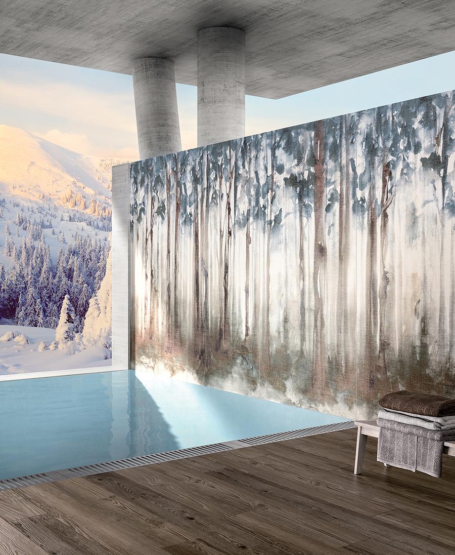 Carrelage imitation papier peint pour créer un effet wallpaper sur un pan de mur avec une finition esprit tenture de lin. Des panneaux taille XXL de la collection dream Fondovalle idéal pour un spa et une piscine intérieur contemporaine