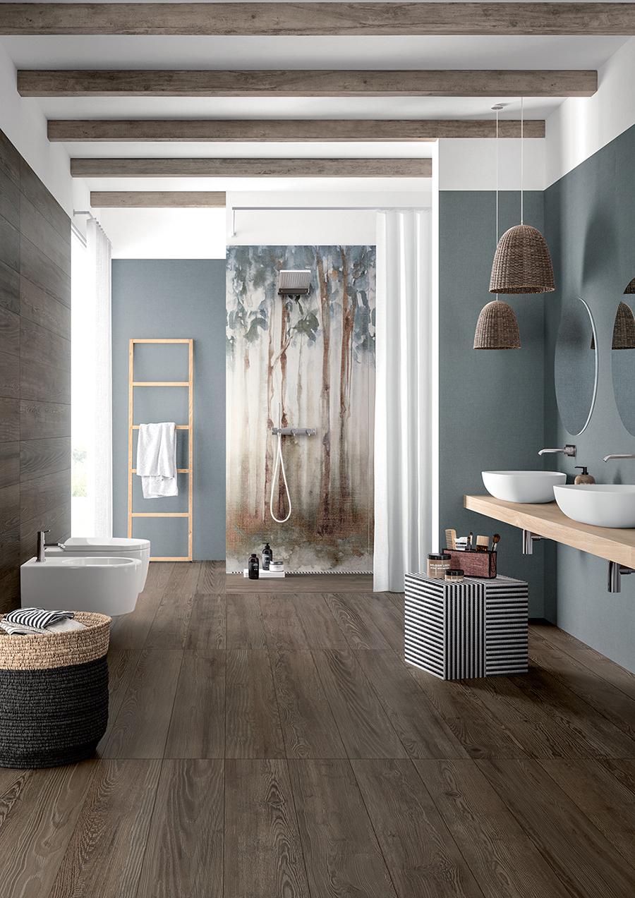 Pour une cabine de douche a l'italienne panneaux de carrelage mural impression motif foret . Sélection aix en Provence, pertuis, Manosque de chez Fondovalle collection dream. Carrelage lessivable et facile d'entretien