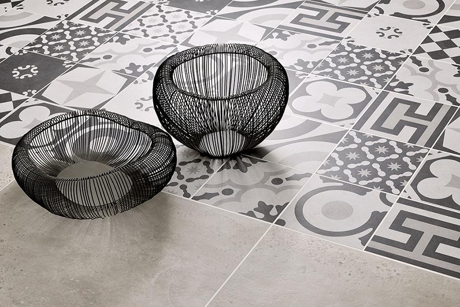 Carrelage inspiration carreaux de ciment noir et blanc