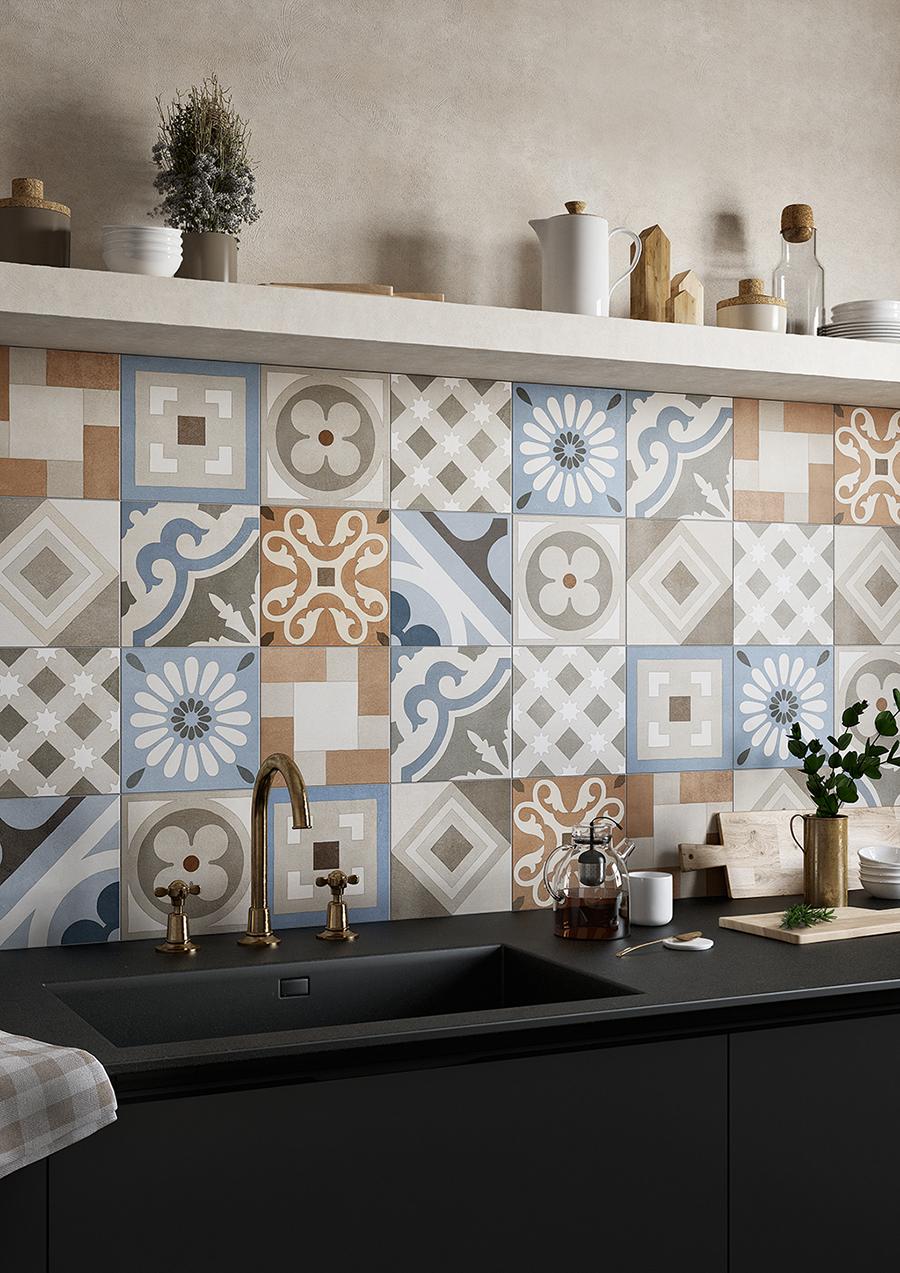 Carrelage inspiration carreaux de ciment influence pop aux couleurs et géométries sophistiquées
