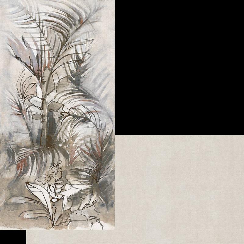 Carrelage intérieur pour donner à vos murs un effet wallpaper imitation papier peint dans un esprit tenture de lin. Les panneaux de plus d' un mètre reprennent les motifs de forêt exotique. Découvrez la collection dream de Fondovalle avec ces motifs et ces carrelages au teintes unies assorties