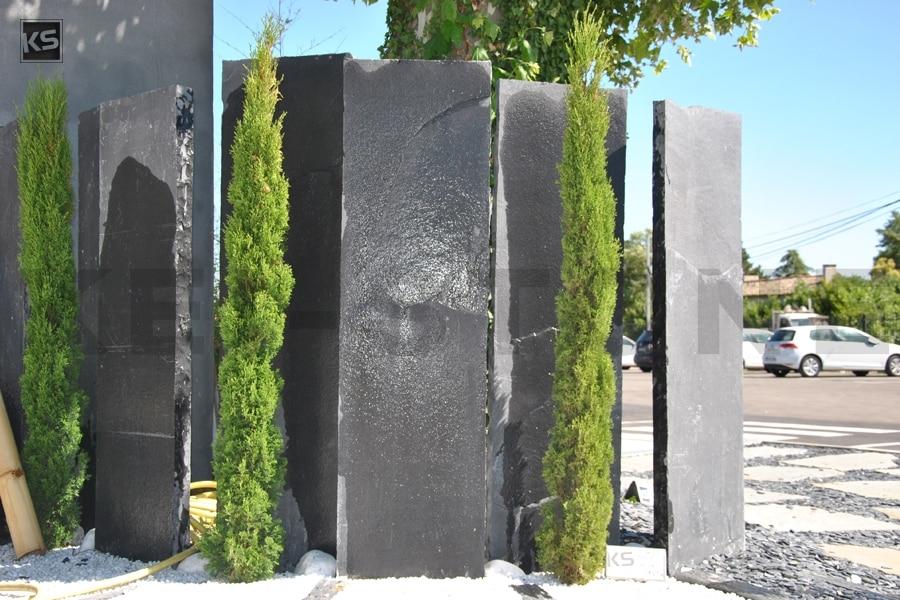 Palissade de pierres naturelles noires et grises - Désert Black & Grey