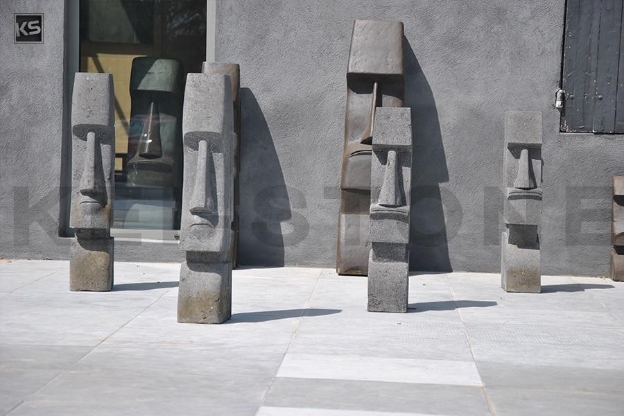 Statue Moai en pierre naturelle de lave pour votre jardin